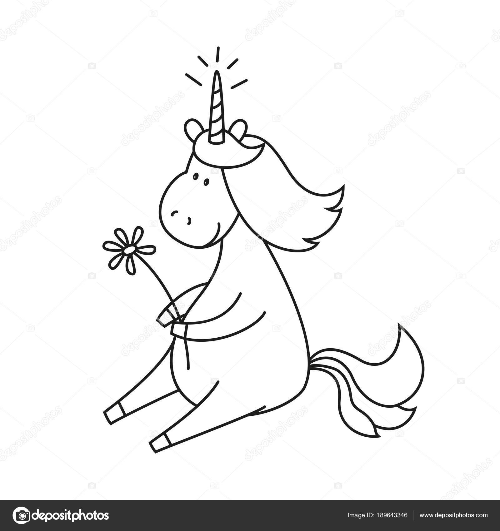 Ilustración con lindo unicornio para colorear libro — Archivo ...