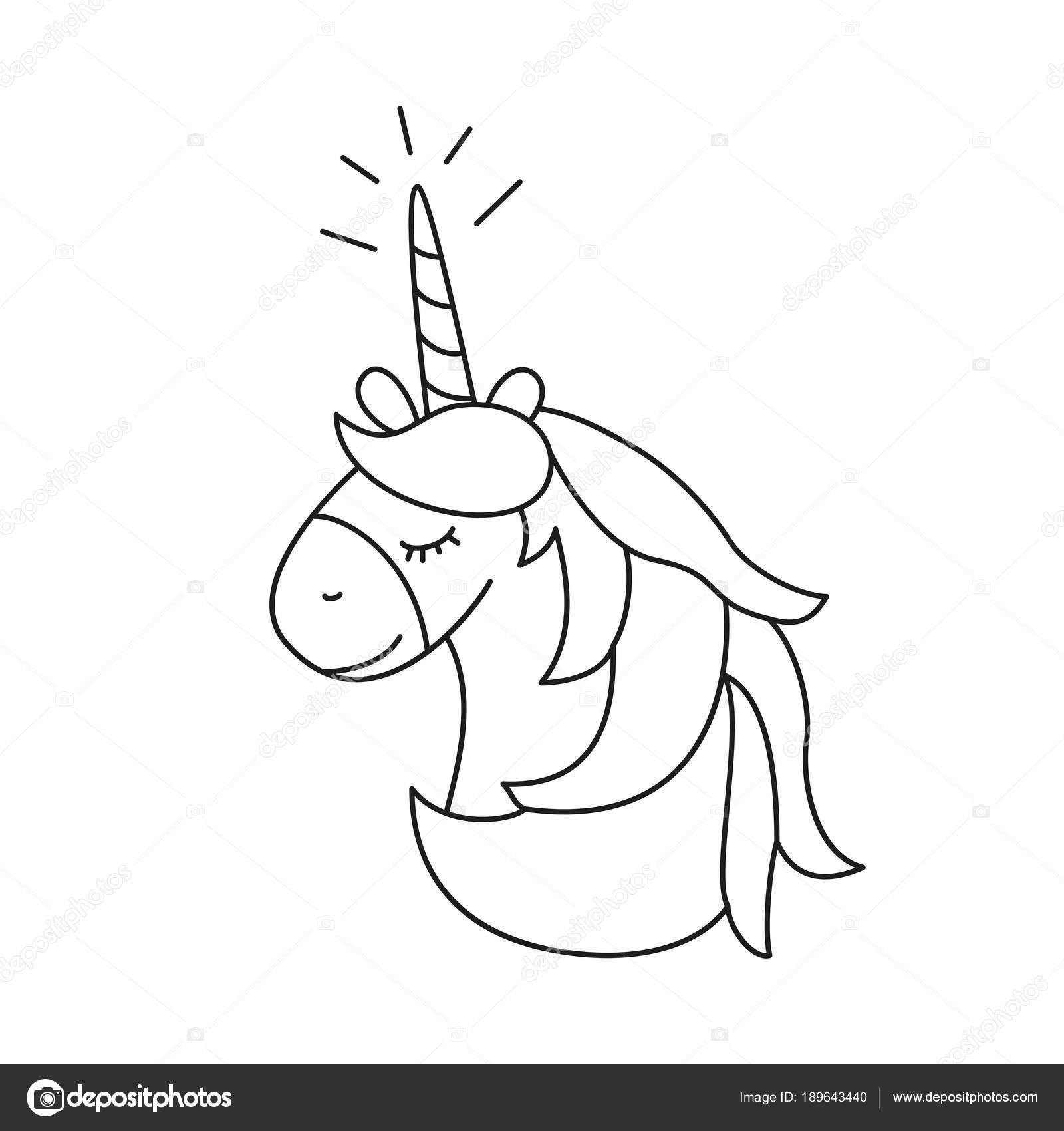 Ilustración con lindo unicornio para colorear libro — Vector de ...