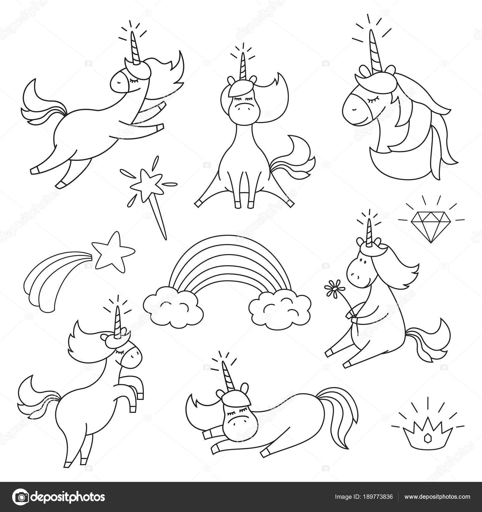 Con lindos unicornios para colorear libro — Vector de stock ...