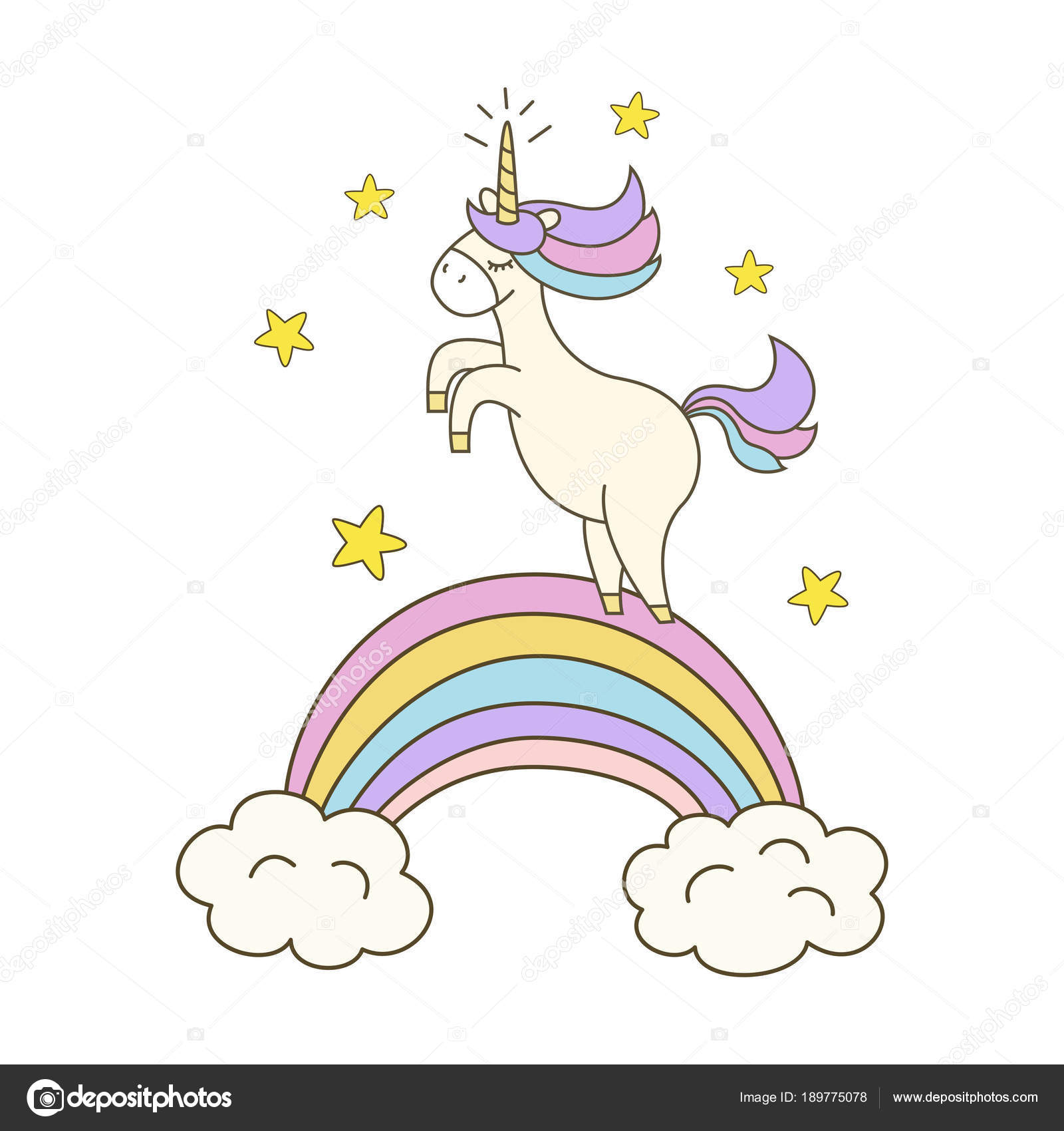Illustration with cute unicorn on white background