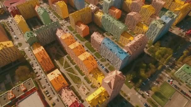 Flight over cozy comfortable colored houses in a European city 4K UHD aerial