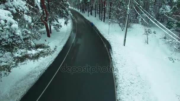 Lone man walking through winter forest aerial footage