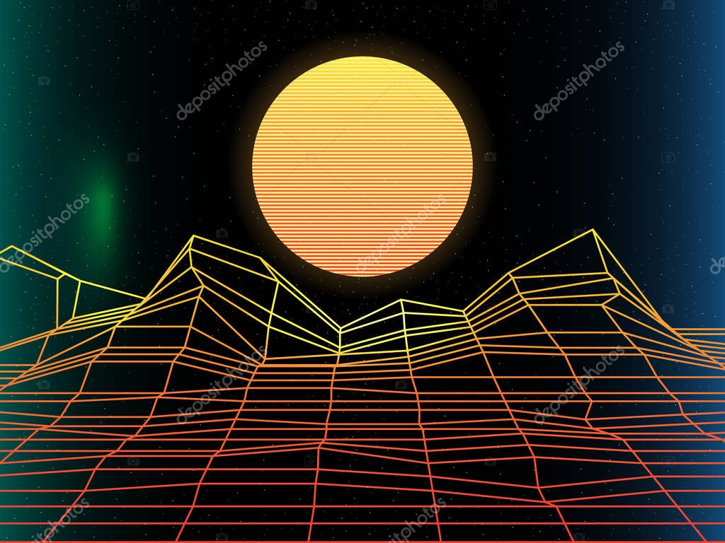 Sun, bright,  synth pop light grid background. Vector Retro back