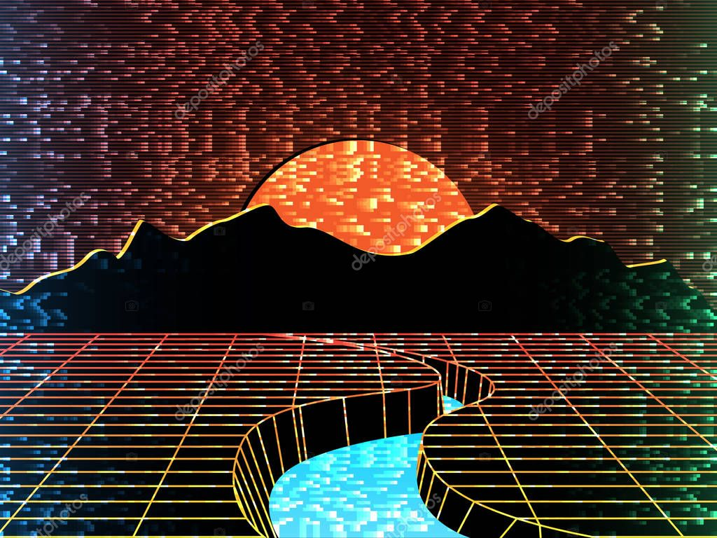 Retro landscape in the style of 80s. synth pop;