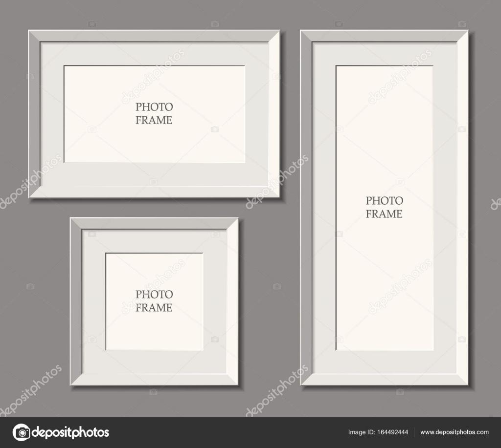 Conjunto de Marcos blanco. pared. Lugar para publicidad, fotos ...