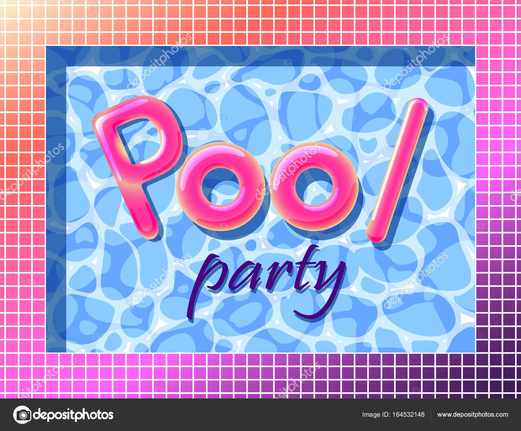 Pool-Party im Sommer Einladung Plakat Vorlage Konzept mit Retro-Stil ...