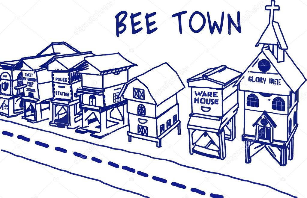 bee town drawing