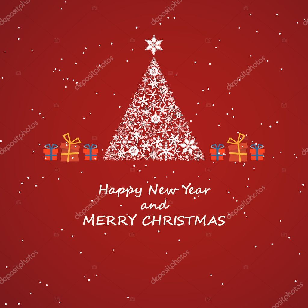 christmas new year decoration gift greeting invitation card background tree snow red star surprise sylvester new year holiday season