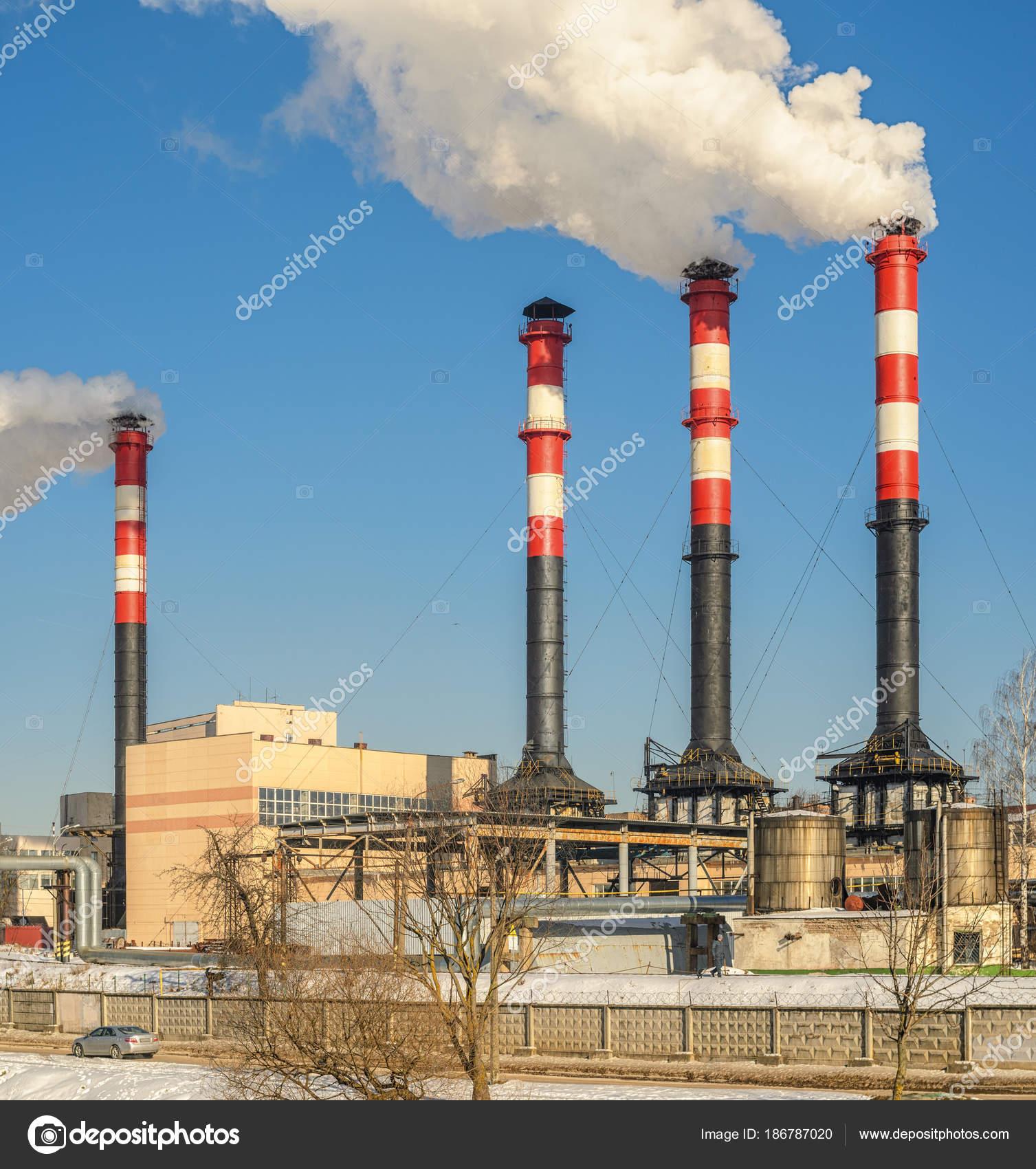 Thermal Power Plant Winter Operation High Chimneys Emit Large Amount ...