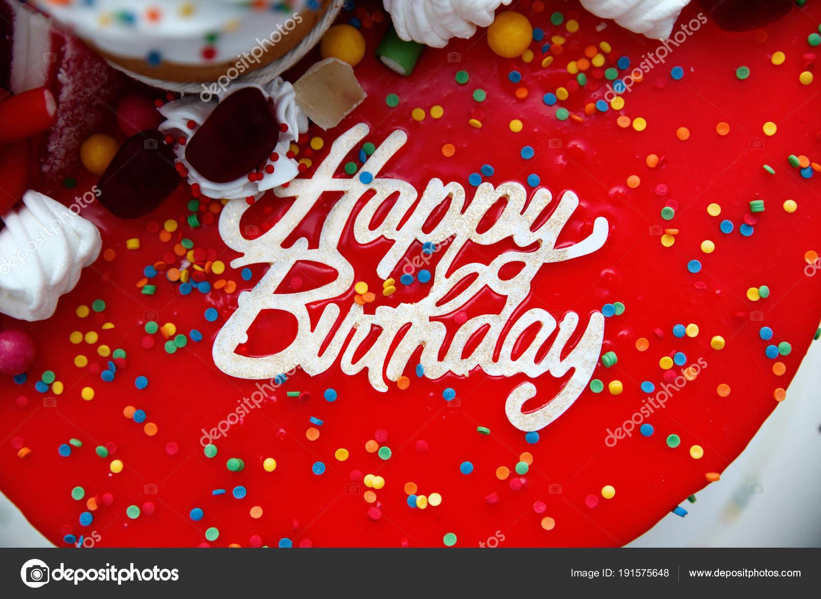 nápis na dort k narozeninám Světlé dort s narozeniny nápis detail — Stock Fotografie  nápis na dort k narozeninám
