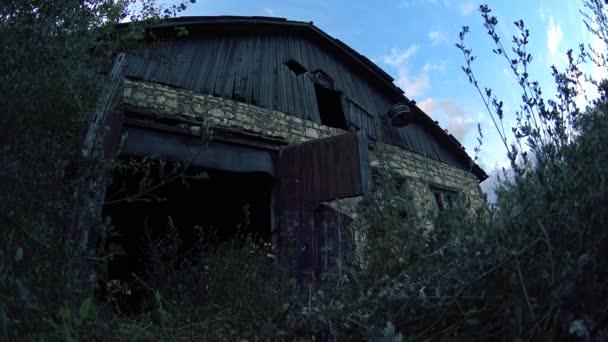 Abandoned grassy warehouse gates