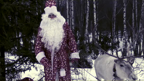 Régi vágású Santa Claus és a rénszarvas, a nagy Agancsok gratulálok gyerekek kamera