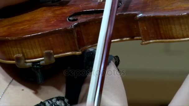 Closeup bow playing the violin, girl hands with fiddlestick and on fingerboard
