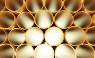 Golden stacked pipes cylinders