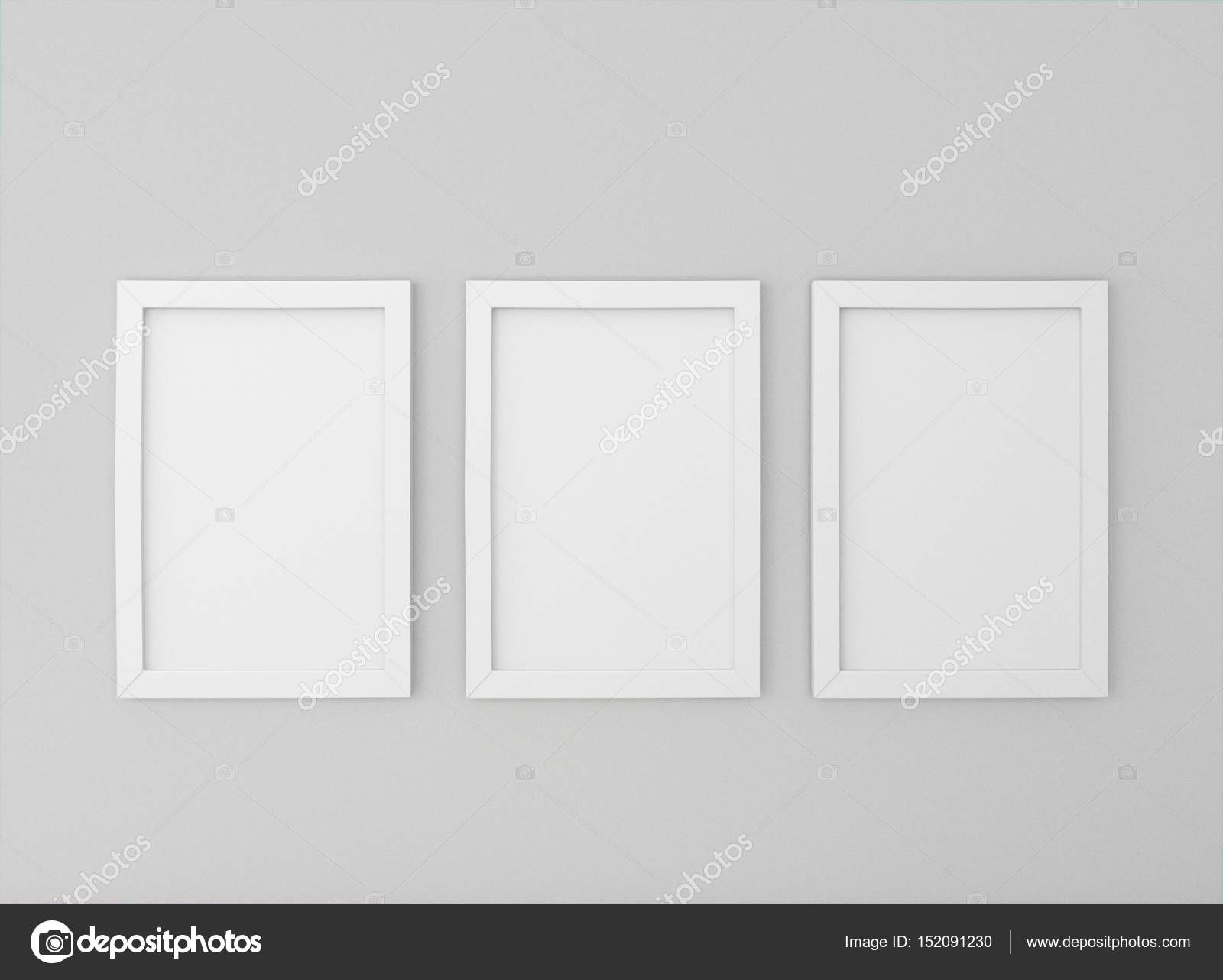 room with empty picture frames on wall — Stock Photo ...