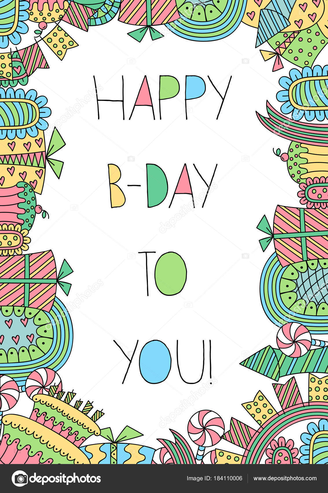Plantilla Tarjeta Cumpleaños Estilo Doodle Dulces Cumpleaños Cajas ...