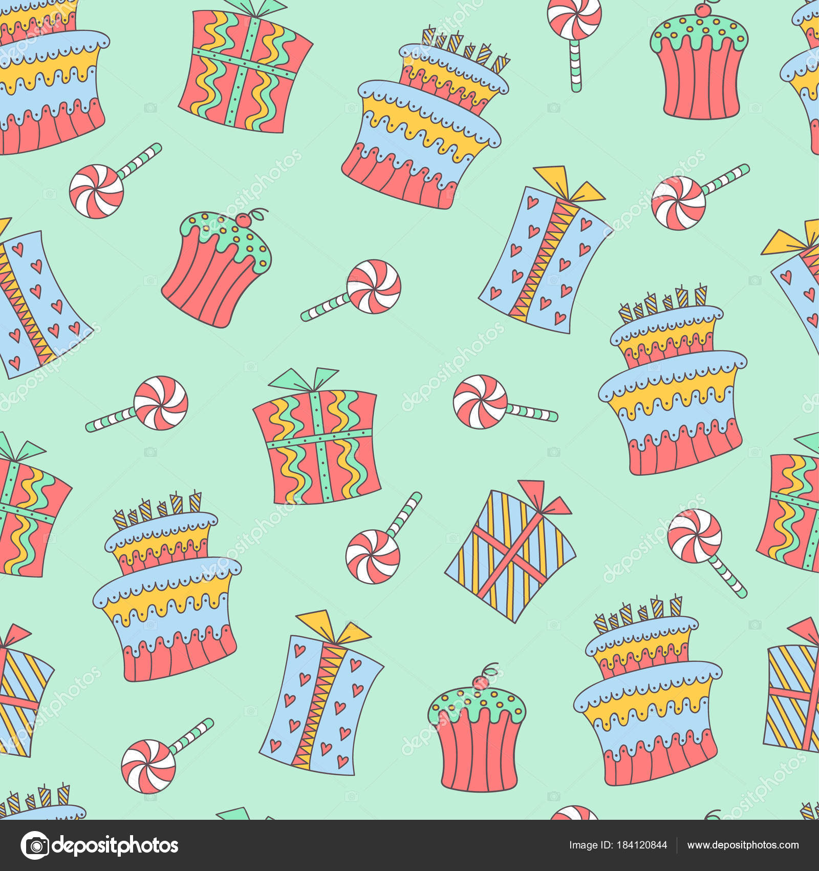 Hand Drawn Doodle Seamless Birthday Pattern Birthday Sweets Boxes
