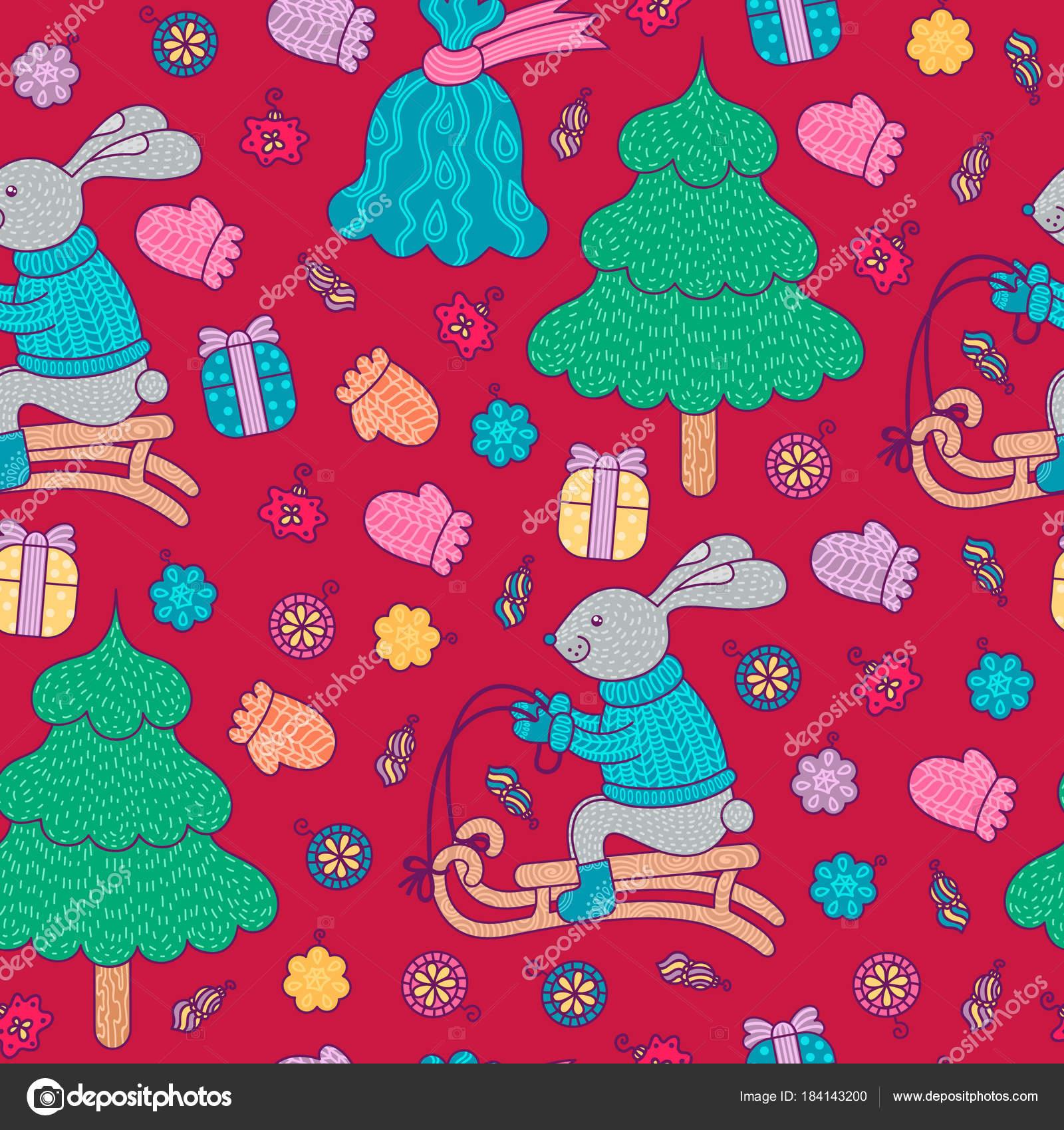 Patrón Decoración Navidad Con Conejito Trineo Árbol Año Nuevo Bolsa ...