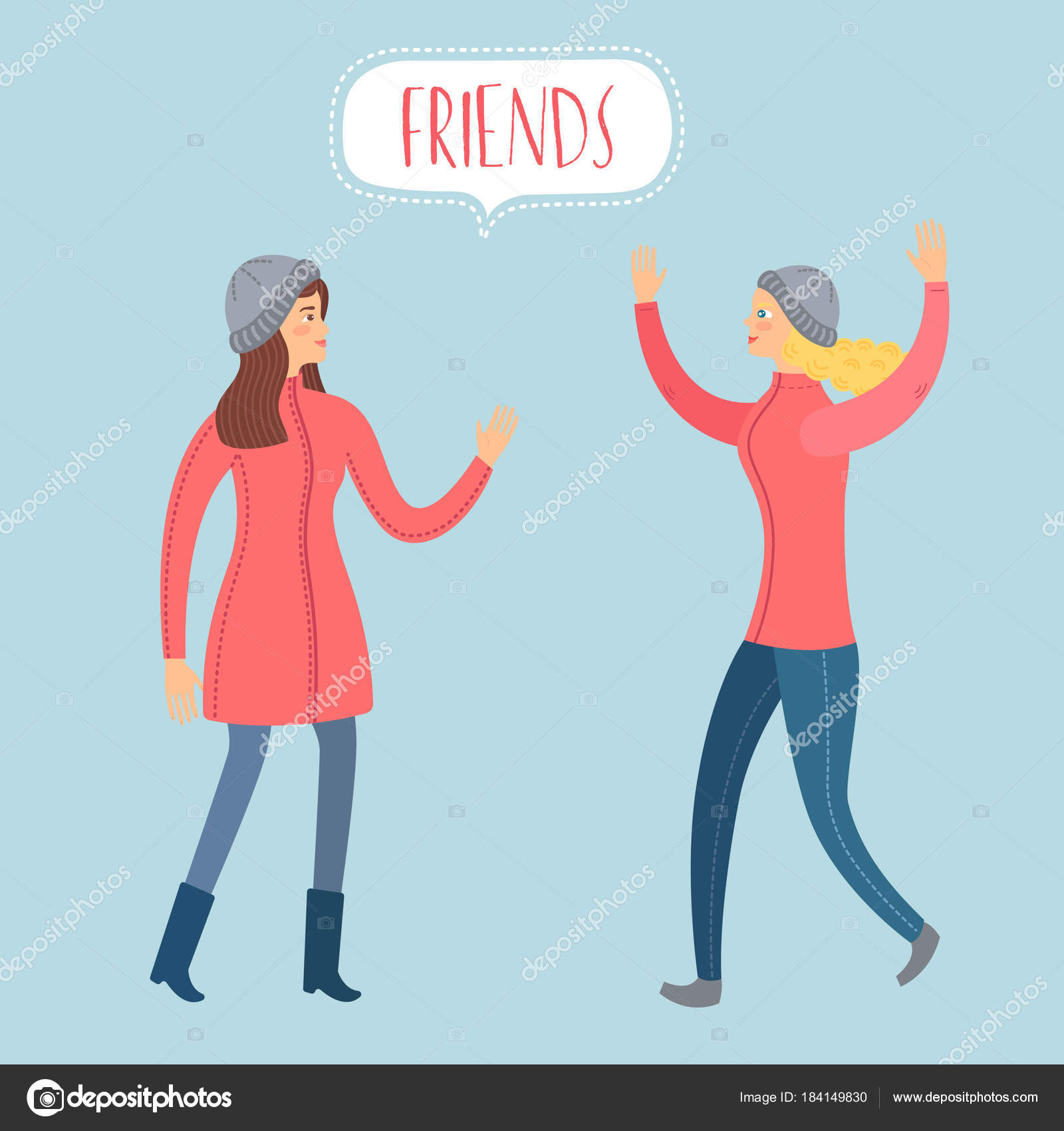 Meeting Two Friends Girls Cartoon Colorful Illustration Unity
