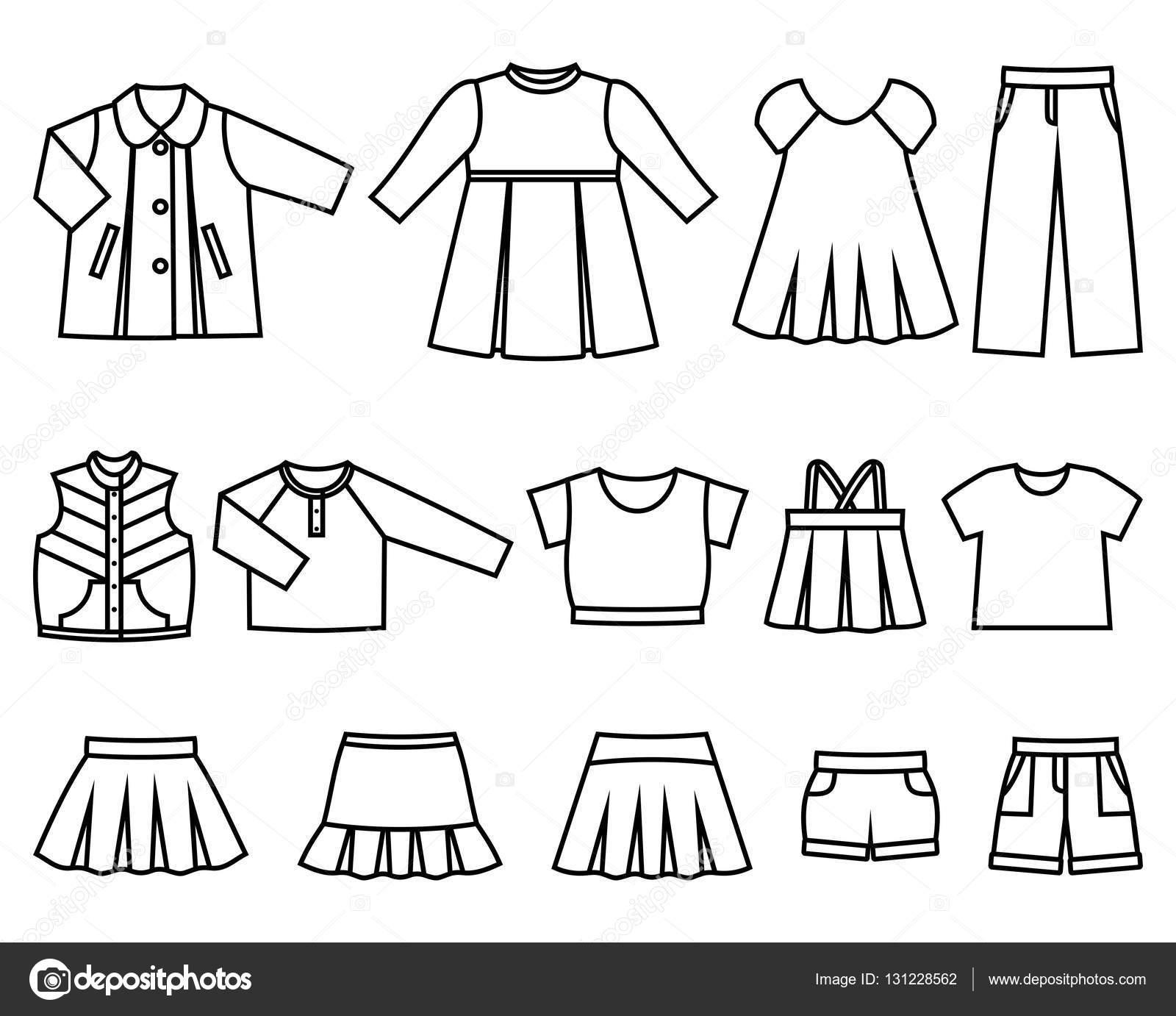 Conjunto de ropa de niños de los iconos de línea para las niñas. Colección  de ropa en fondo blanco. Ilustración de vector — Vector de maradaisy 413130b6726e