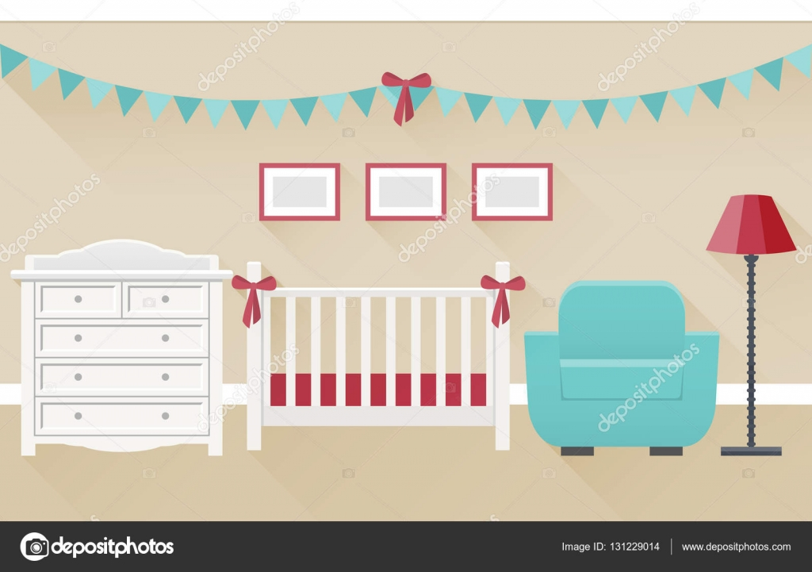 Interior de la habitación del bebé. Ilustración de vector plano ...