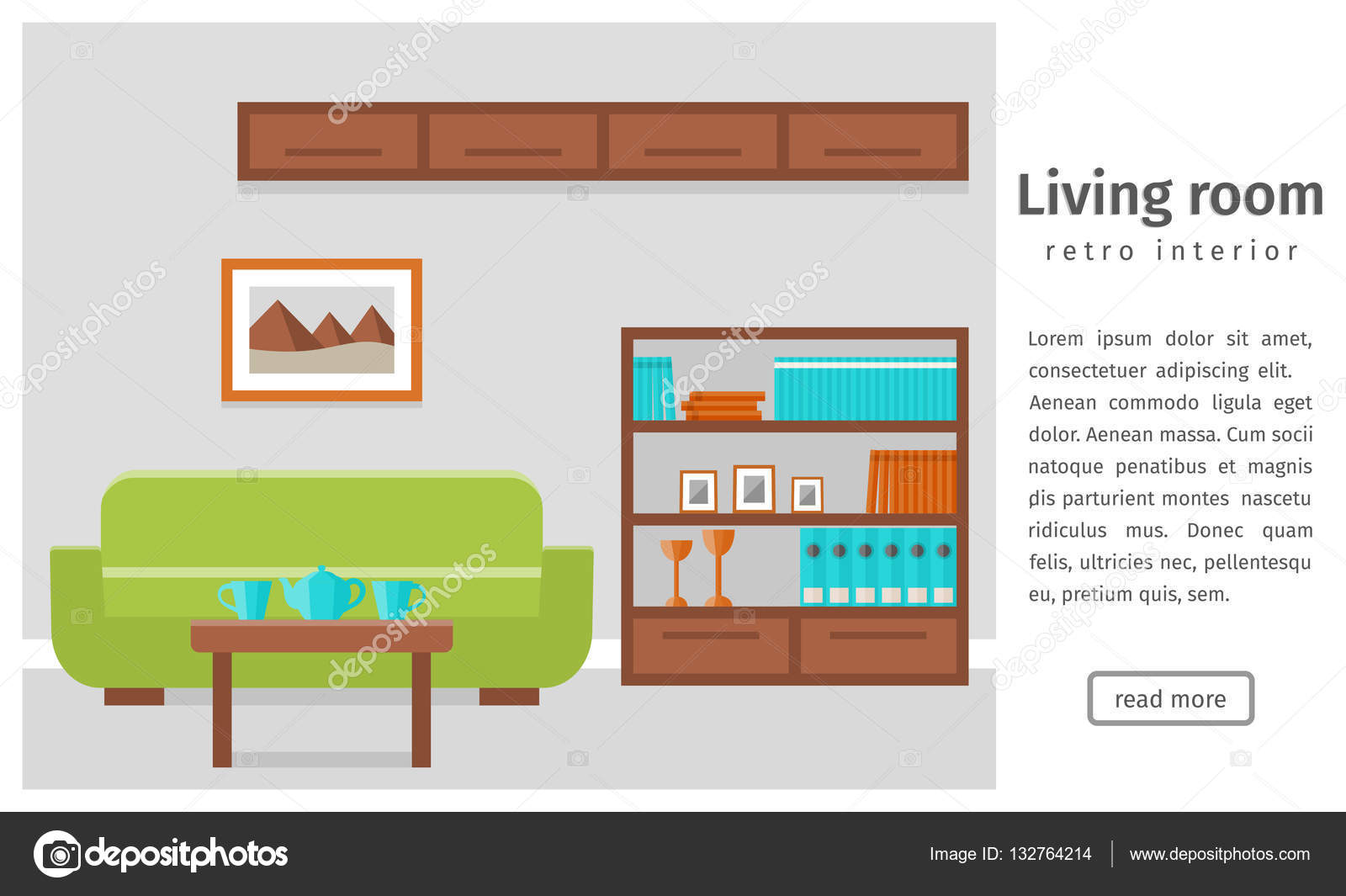 Banner of retro living room interior. Flat vector background ...