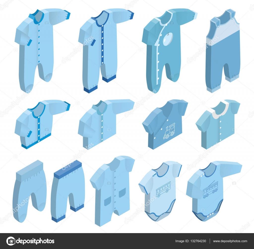 66b160eba73 Ανυσματικά εικονίδια ισομετρική νεογέννητο μωρό ρούχα για αγόρια–  εικονογράφηση αρχείου