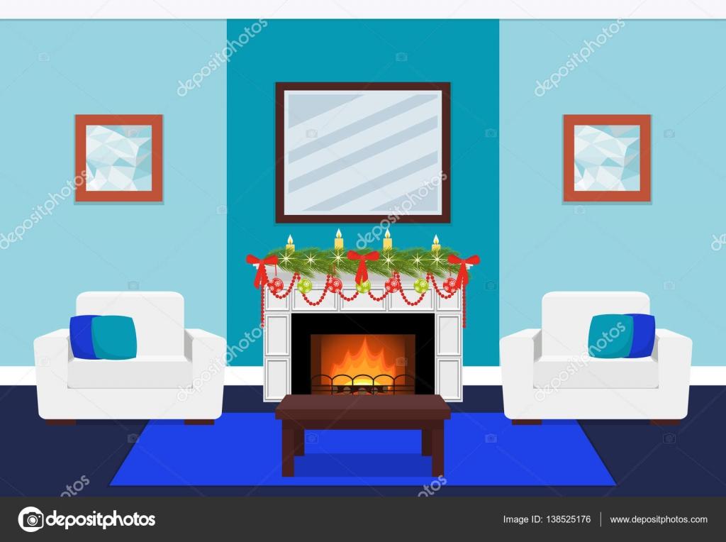 Wohnzimmer-Design mit Kamin und Baum Zweig. Vektor, Abbildung ...