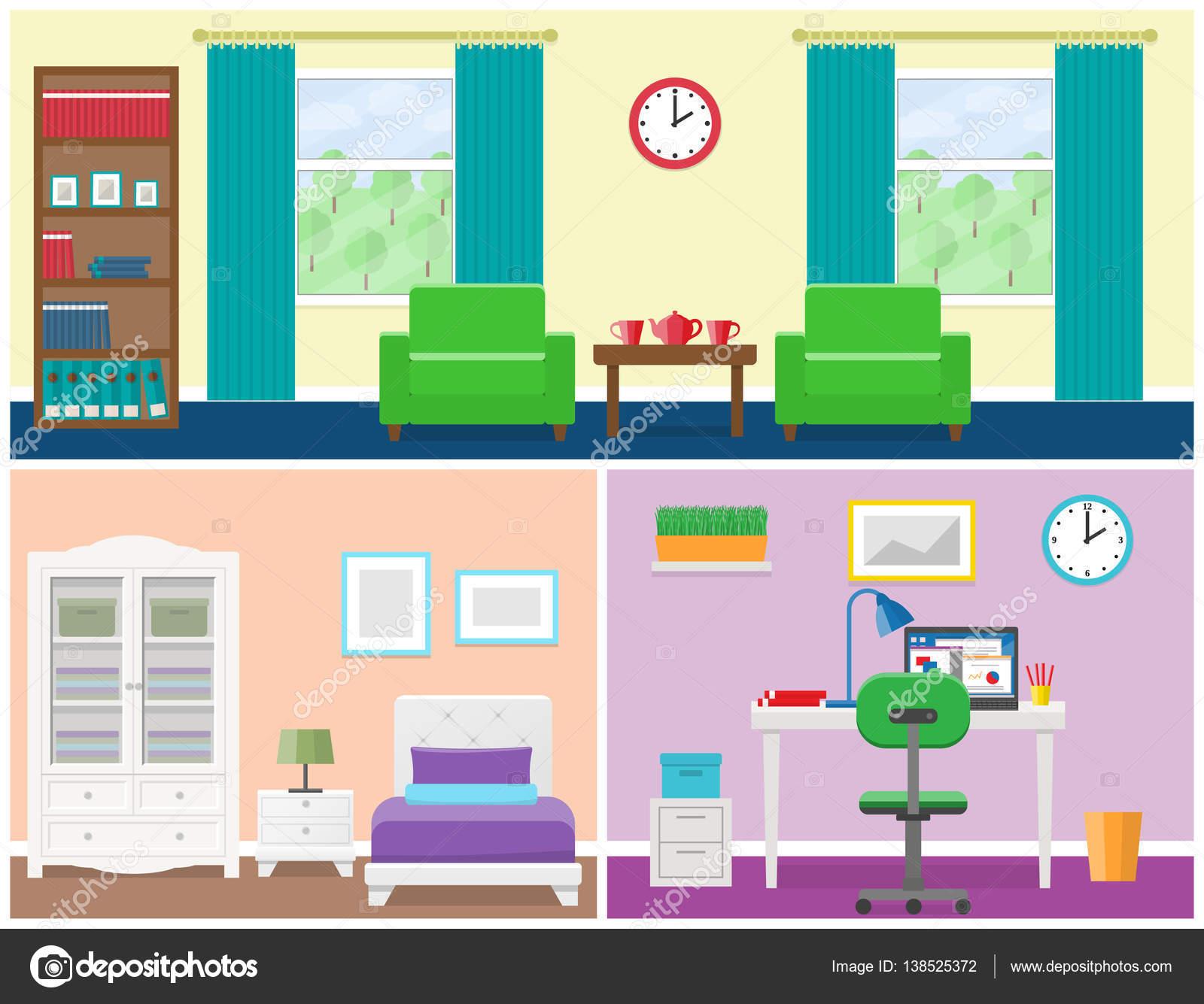 Interno camere di casa in stile piano immagine vettoriale for Disegno interno casa