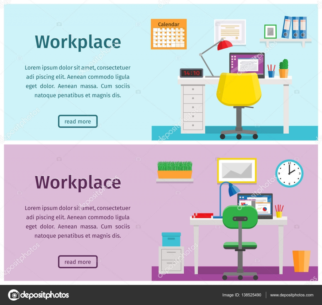 flat workspace home office. flat interior workspace home workplace vector background u2014 stock 138525490 office i