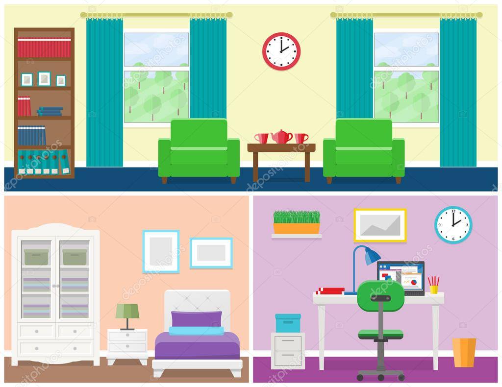 Evin Odaları Düz Stil Iç. Vektör Grafiği