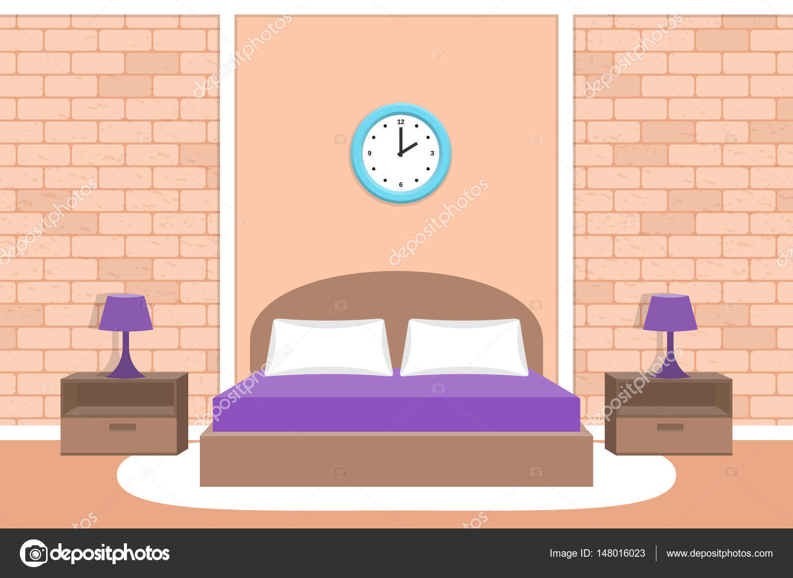 Bedroom design. Room interior Vector illustration. Background wi 11