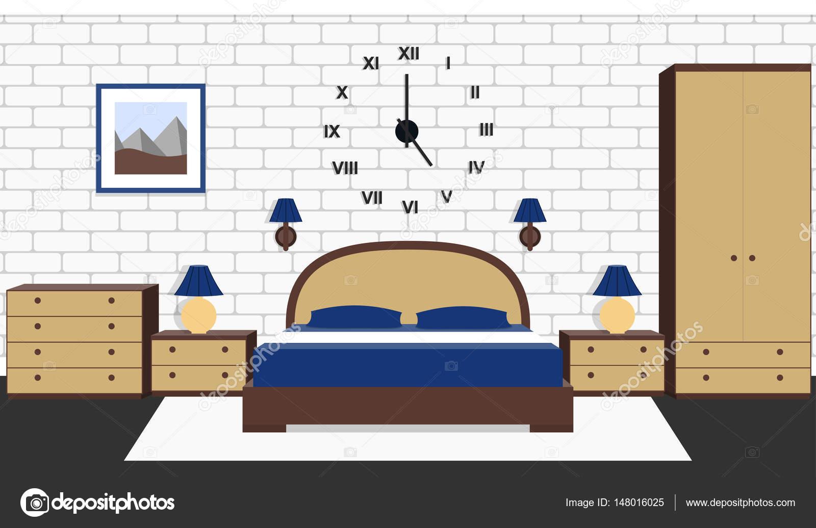 Interieur De Chambre A Coucher Illustration Vectorielle Fond Avec