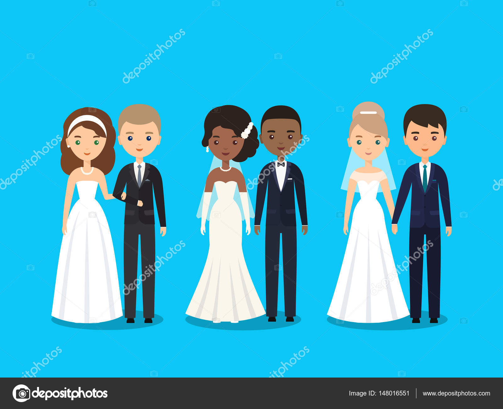 Bride and groom flat characters. Vector illustration. — Stock Vector ...