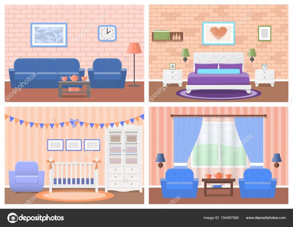 Conjunto de interiores de habitaciones de diseño plano. Ilustración ...