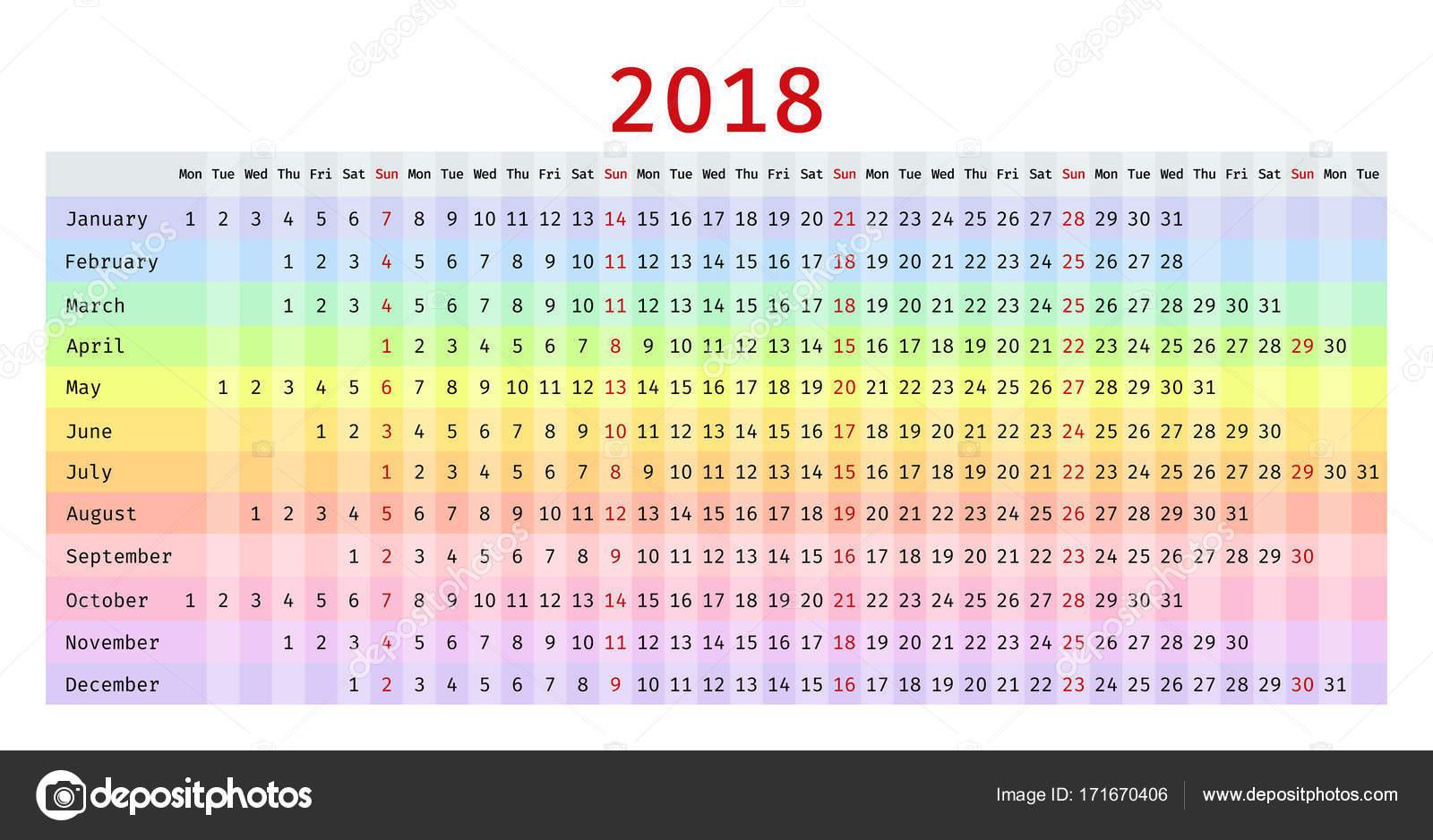 Calendario Lineal.Calendario Lineal De 2018 Planificador De Plantilla De