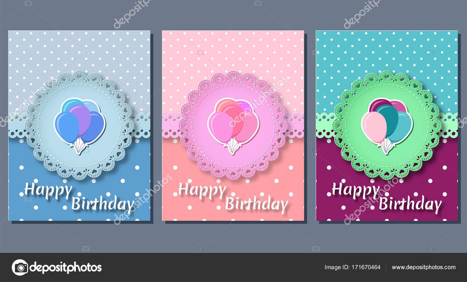 Tarjetas de cumpleaños. Plantillas de vacaciones. Ilustración de ...