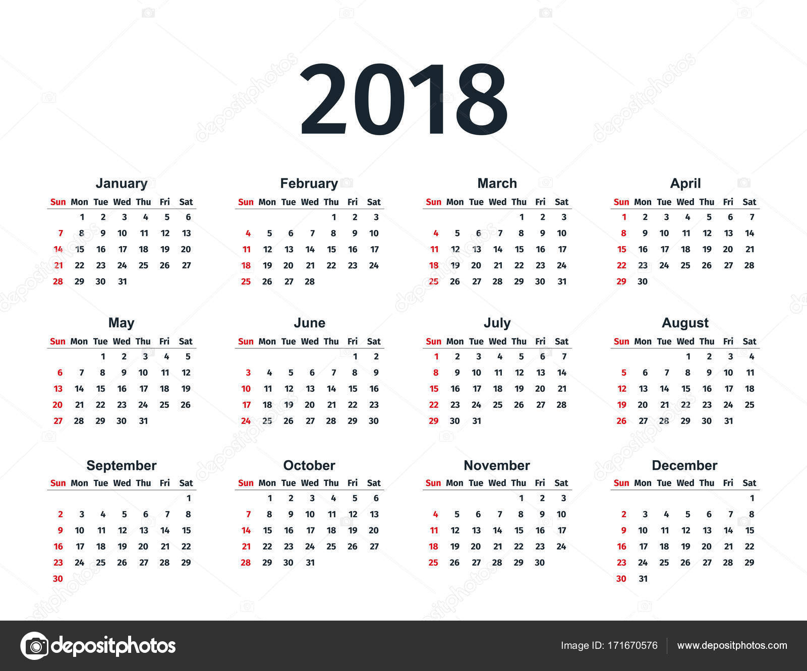 Calendar 2018 year. Vector template planner. — Stock ...