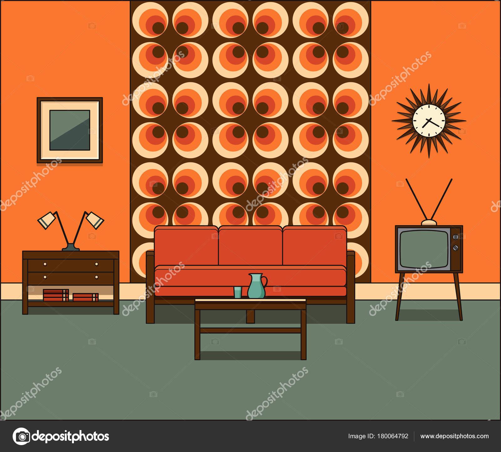 Interior De La Habitacion Retro Ilustracion De Vector Lineal - Habitacion-retro
