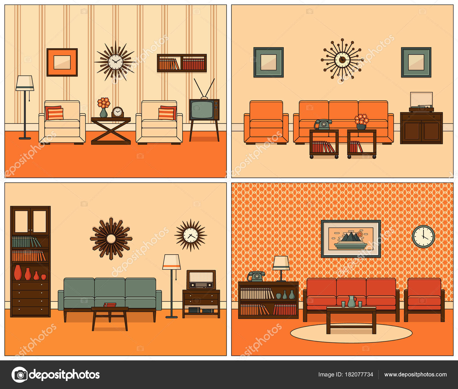 Living room interiors. Retro linear vector illustration ...
