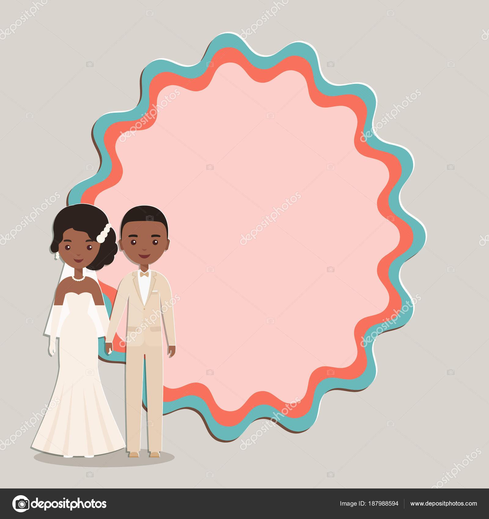 Novio de dibujos animados, novia con espacio para texto. Ilustración ...