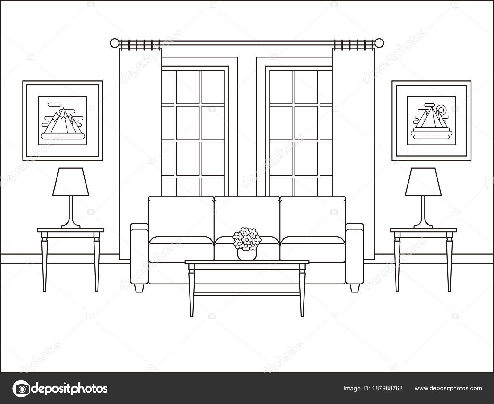 Oda Iç Düz Tasarım Penceresinde Ile Anahat Vektör Illustr Stok