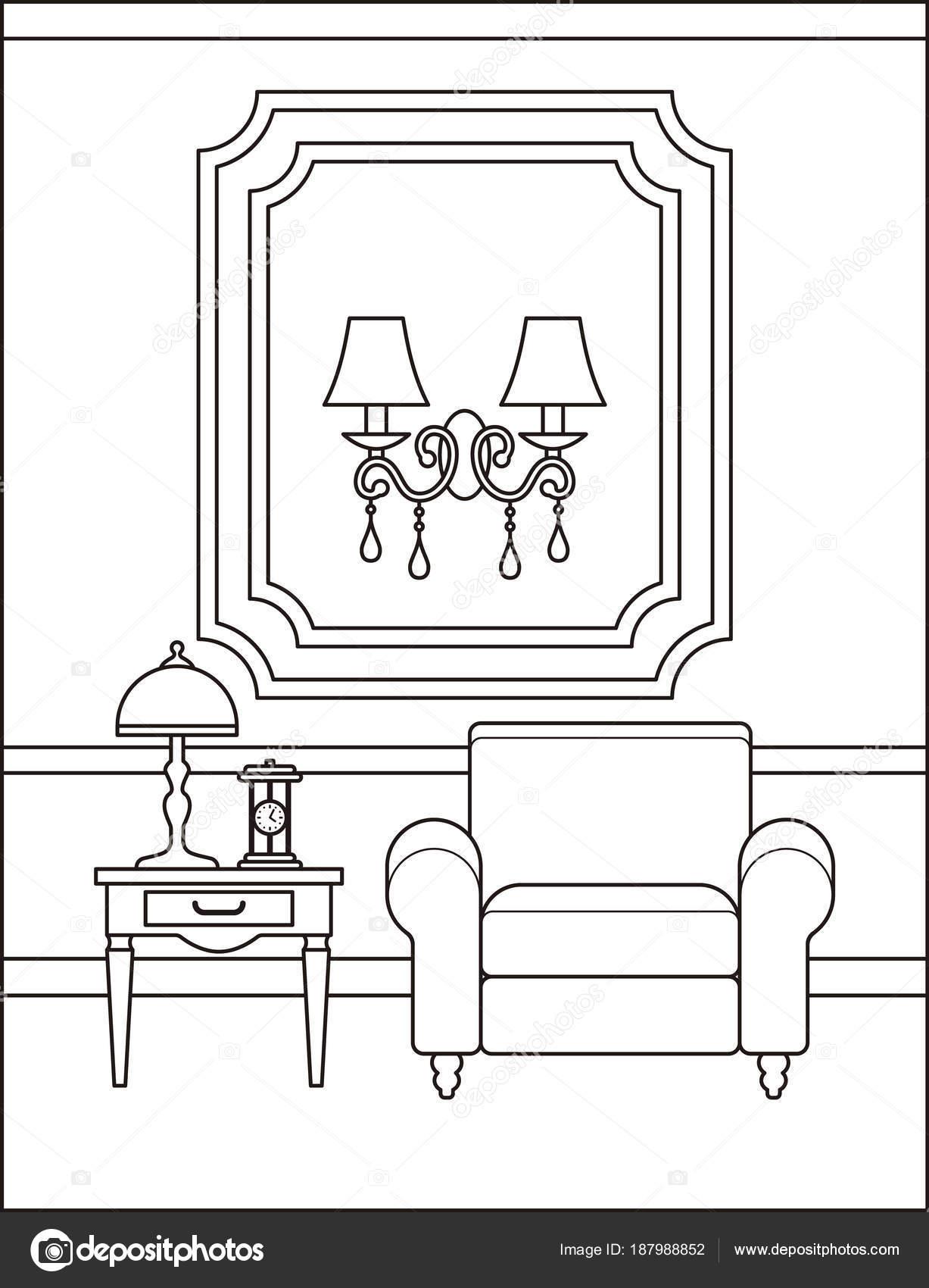 Room interior in flat design. Outline vector illustration. — Stock ...