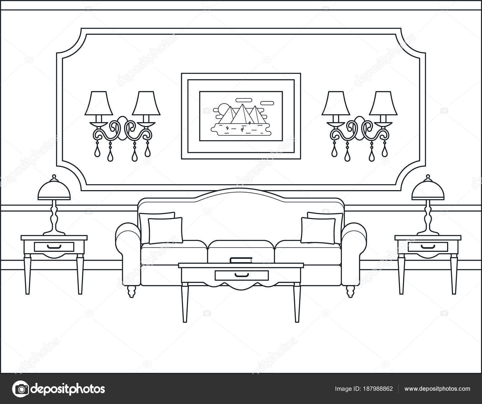 Living room interior in flat design. Outline vector illustration ...