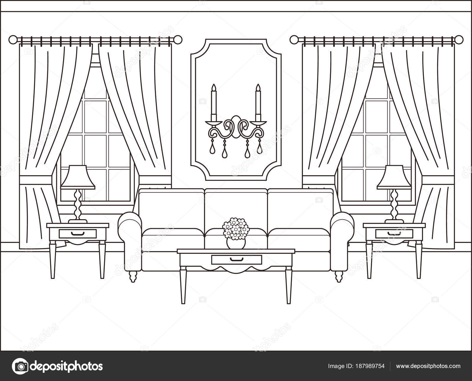 Living Room Interior In Flat Design. Outline Vector Illustration U2014 Stock  Vector