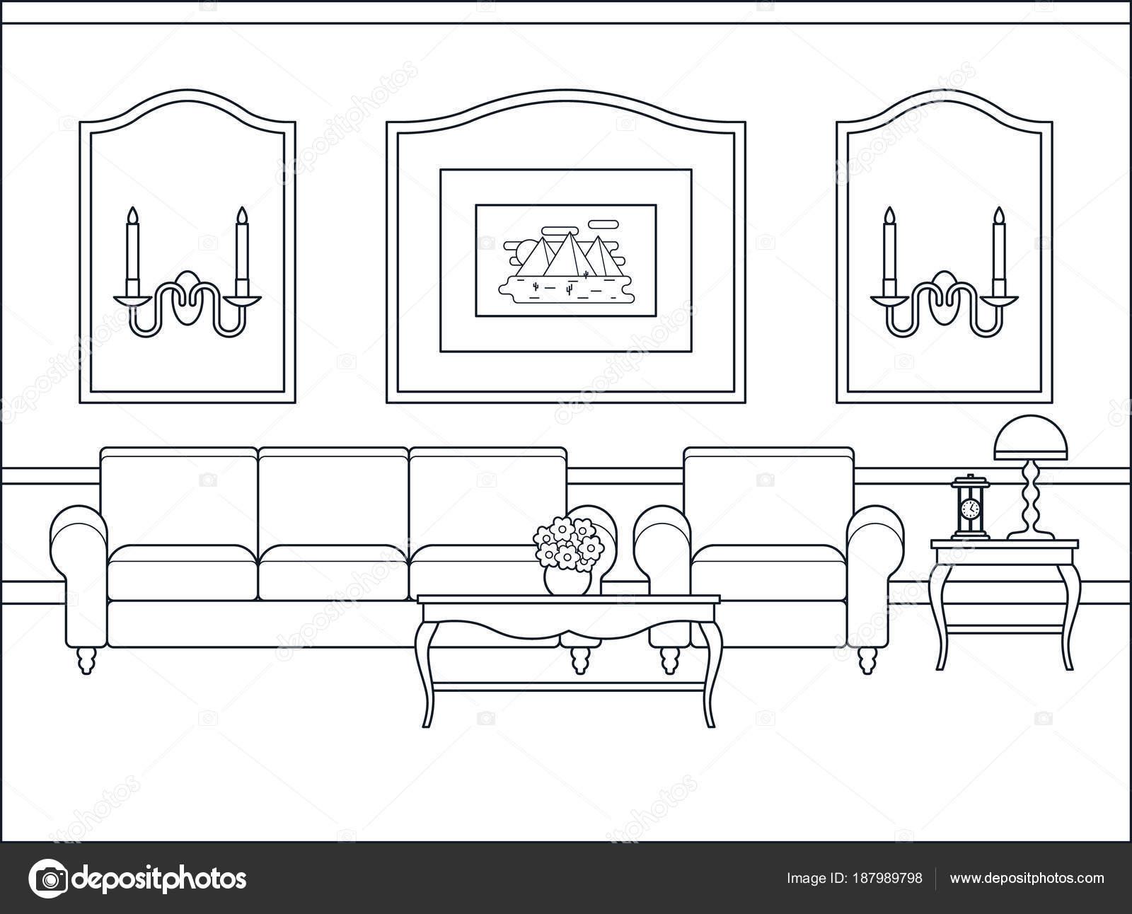 Woonkamer interieur in platte ontwerp. Lineaire vectorillustratie ...