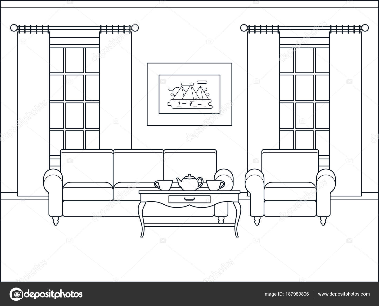 Living room interior in flat design. Linear vector illustration ...