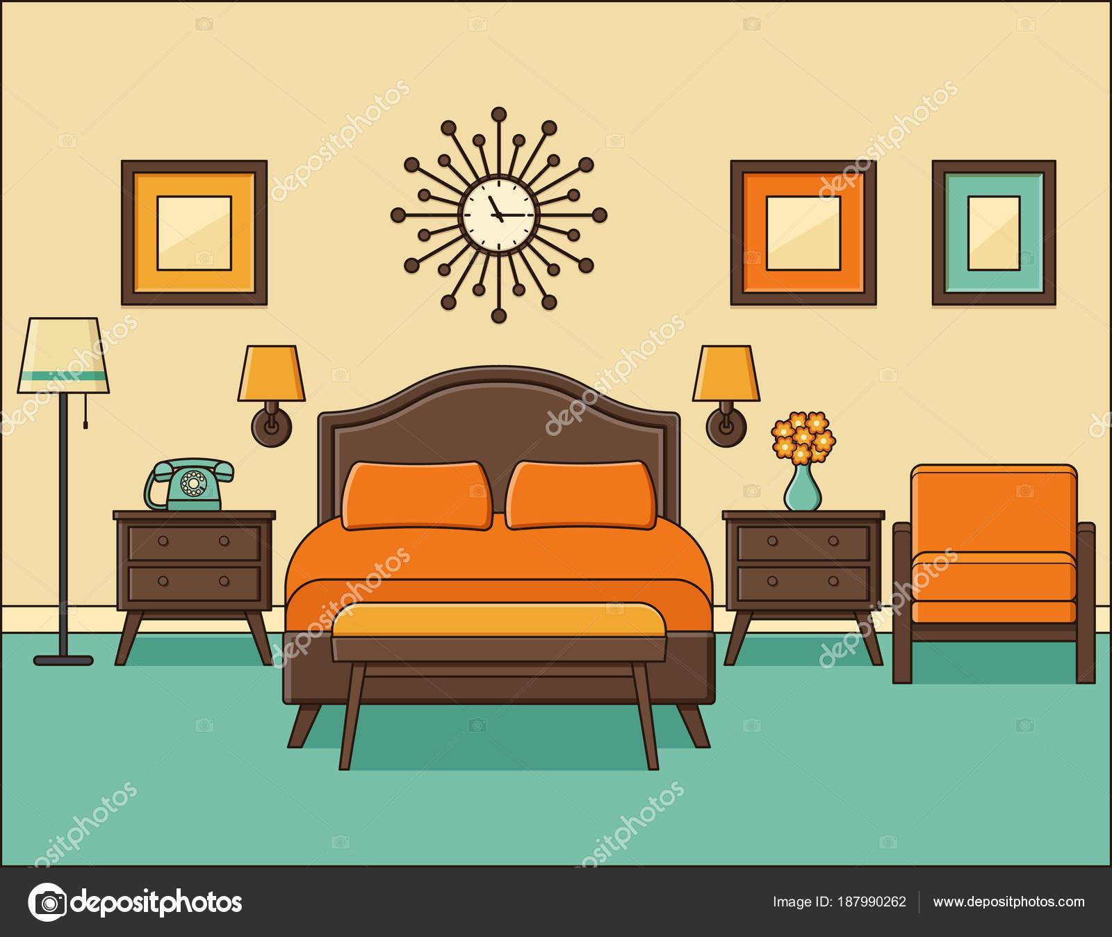 Bedroom interior. Hotel room in retro design. Vector illustratio ...