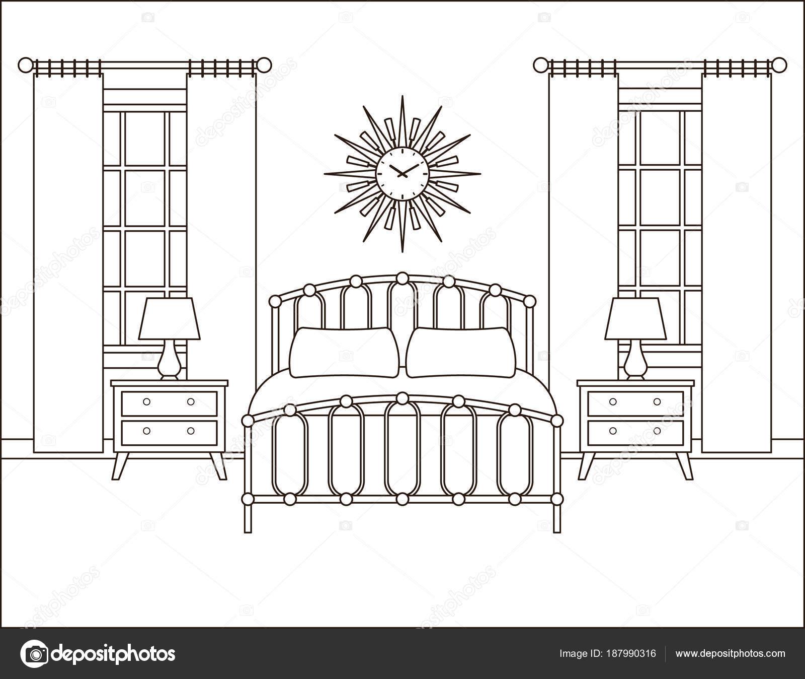 Slaapkamer Interieur Hotelkamer In Retro Ontwerp Vector