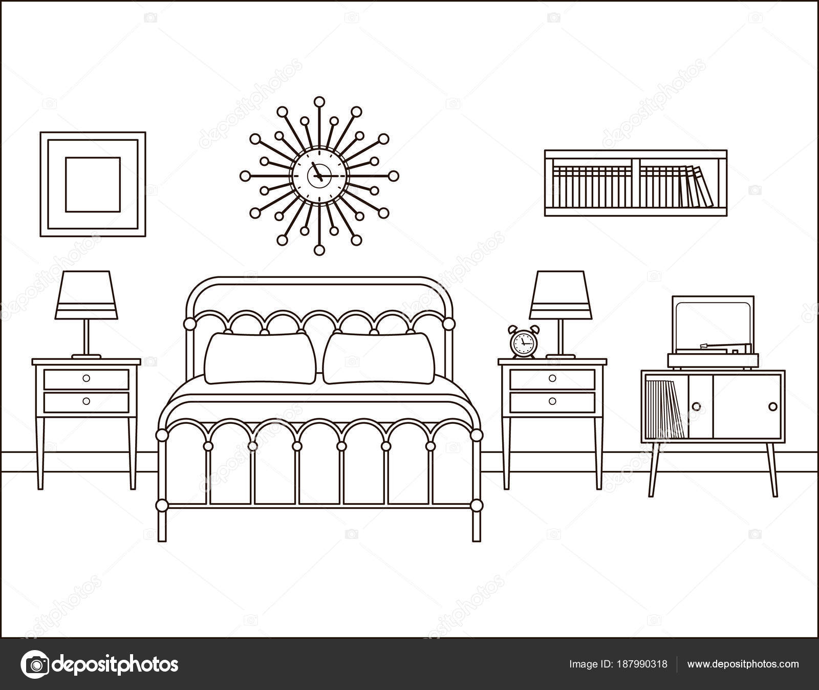 Interior de dormitorio. Habitación con cama de matrimonio ...